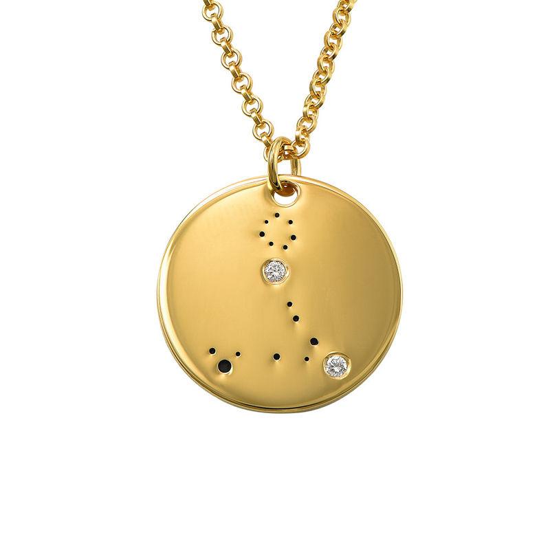 Fiskarnas stjärnteckenhalsband med diamanter i guldplätering
