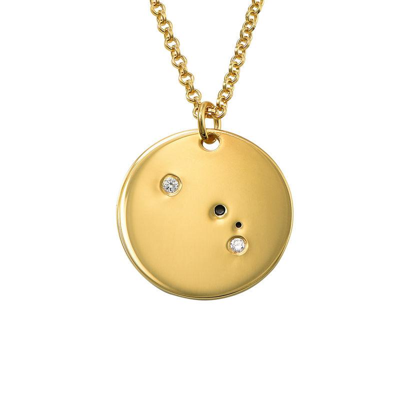 Vädurens stjärnteckenhalsband med diamanter i guldplätering