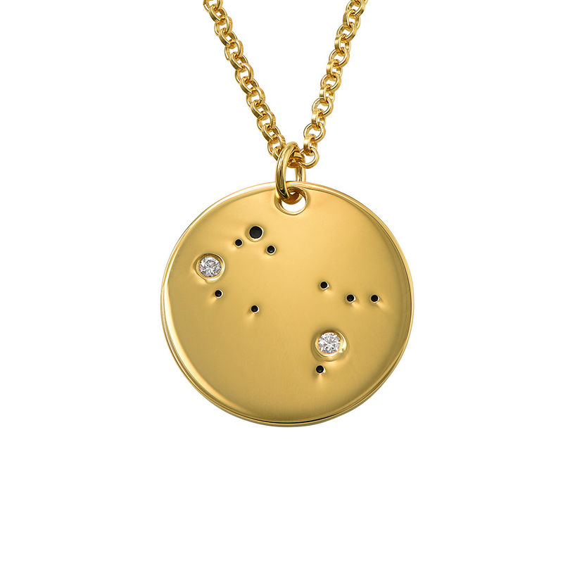 Tvillingarnas stjärnteckenhalsband med diamanter i guldplätering