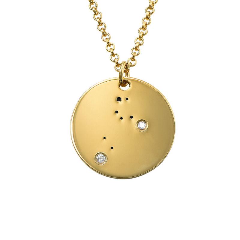 Lejonets stjärnteckenhalsband med diamanter i guldplätering