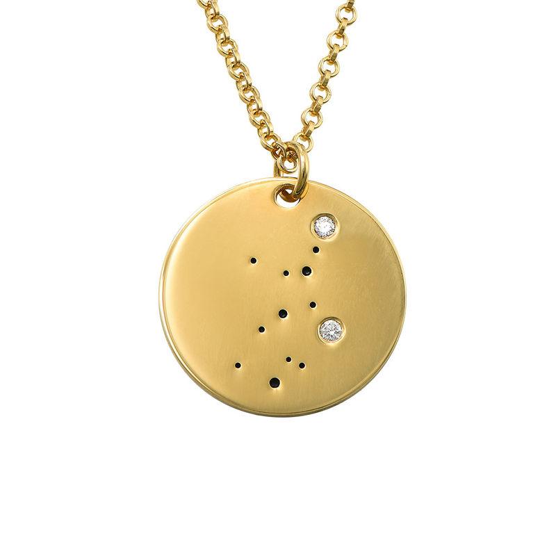 Junfruns stjärnteckenhalsband med diamanter i guldplätering