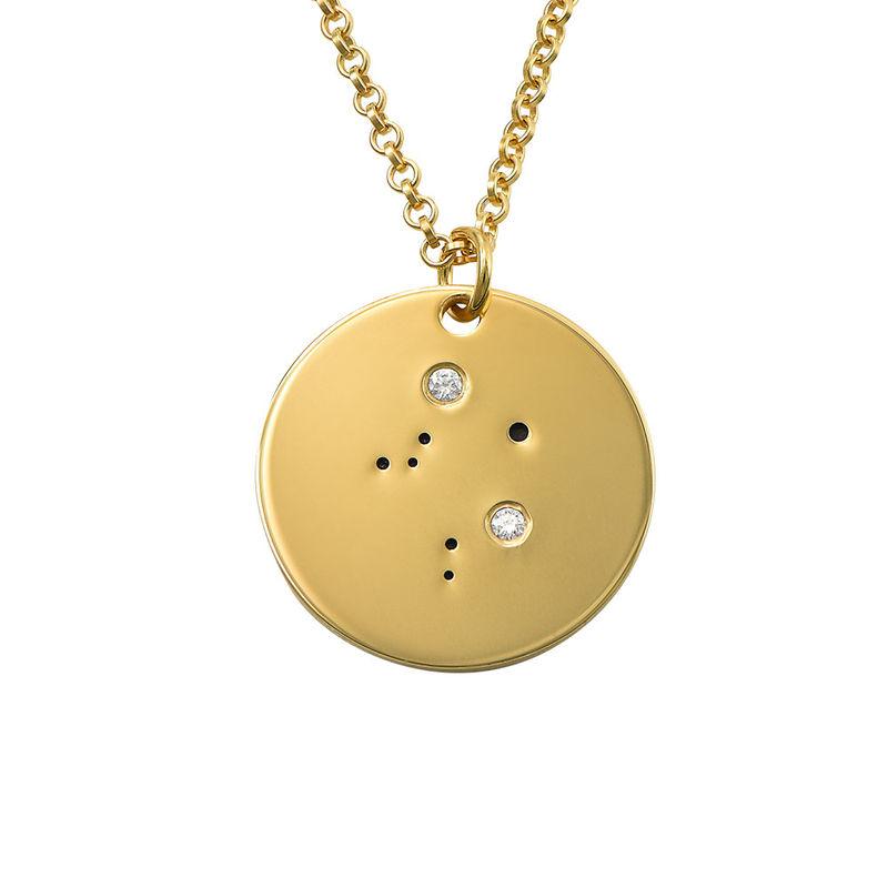 Vågens stjärnteckenhalsband med diamanter i guldplätering
