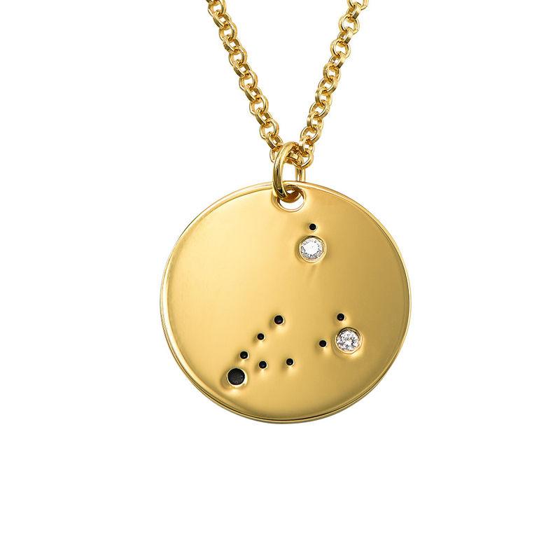 Stenbockens stjärnteckenhalsband med diamanter i guldplätering