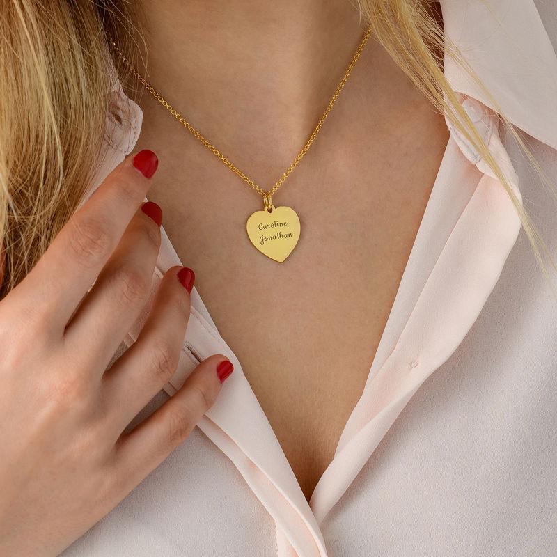 Hjärthalsband i guldpläterat silver - 3