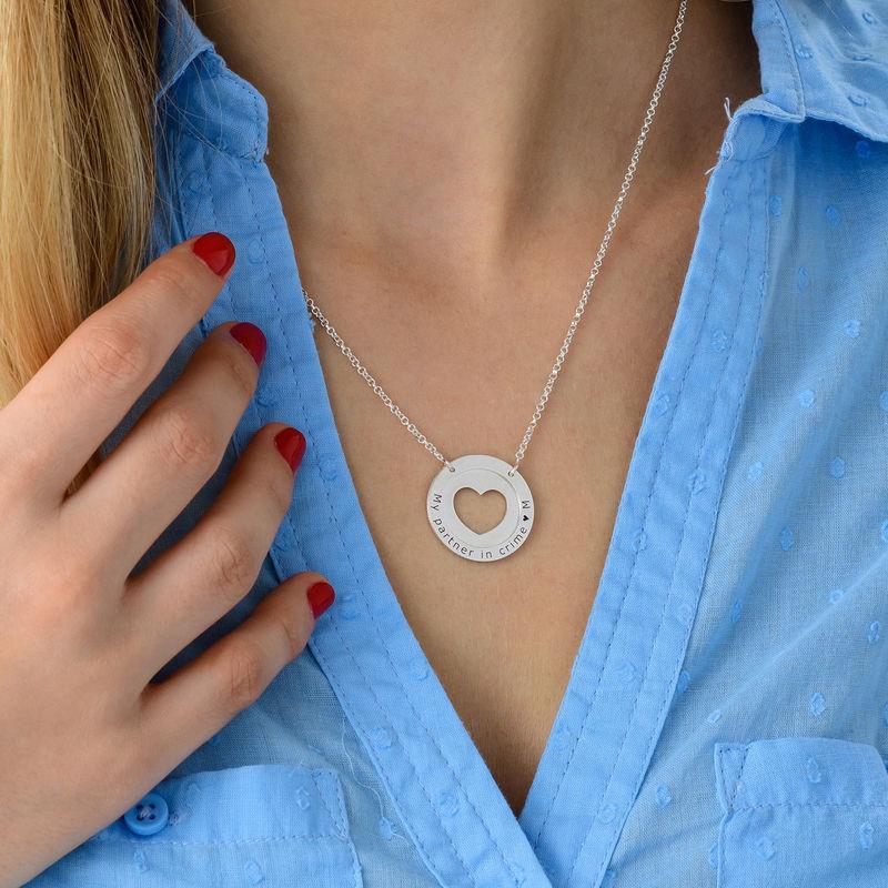 Cirkelhalsband med Hjärta i Silver - 3