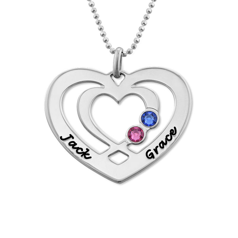 Hjärthalsband med Två Hjärtan och Månadsstenar i Silver