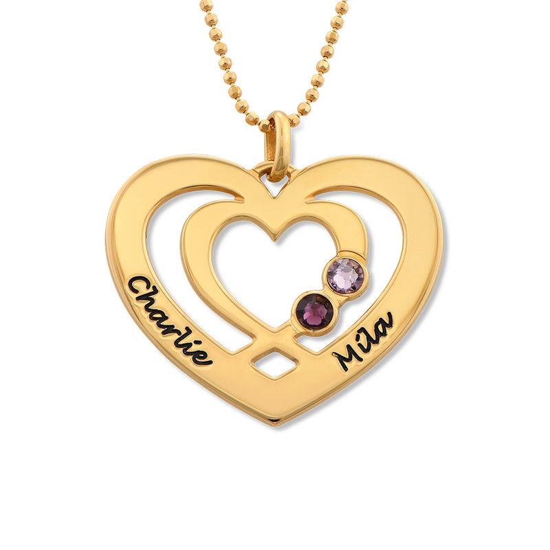 Hjärthalsband med Två Hjärtan och Månadsstenar i Guldplätering