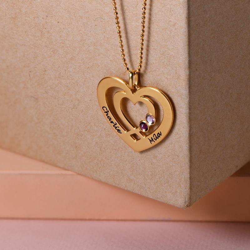 Hjärthalsband med Två Hjärtan och Månadsstenar i Guldplätering - 1