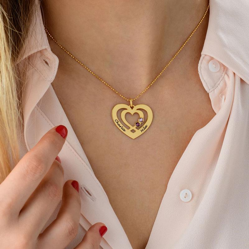 Hjärthalsband med Två Hjärtan och Månadsstenar i Guldplätering - 4