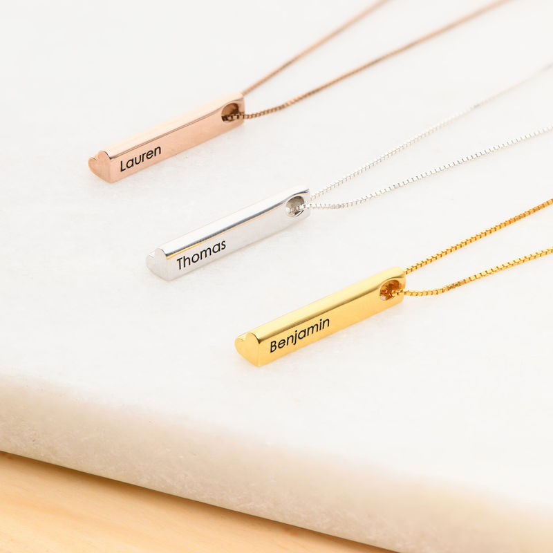 Hjärtformad 3D bar halsband-guldpläterad - 2