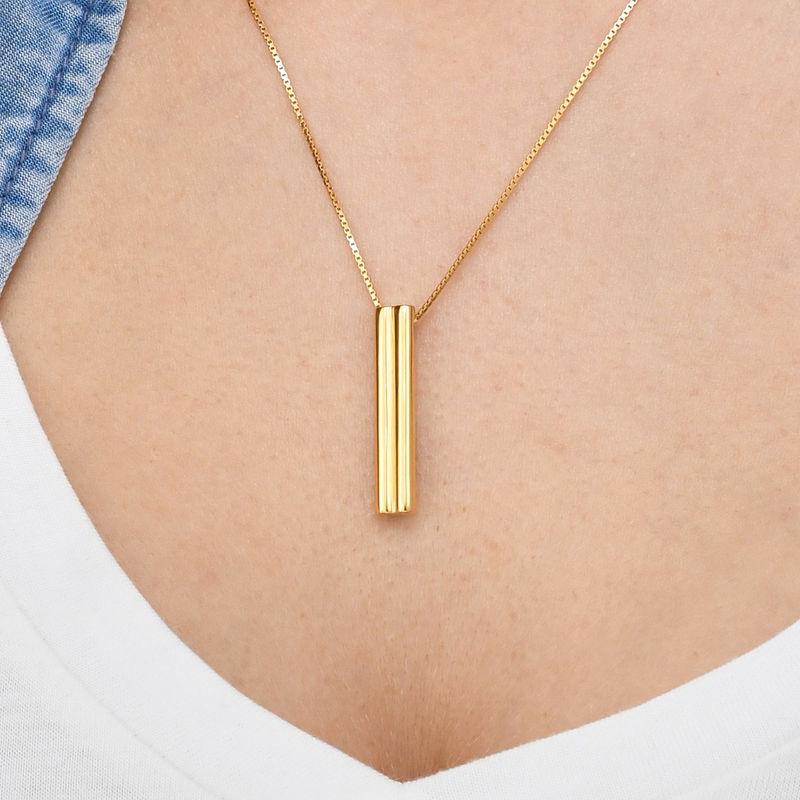 Hjärtformad 3D bar halsband-guldpläterad - 4
