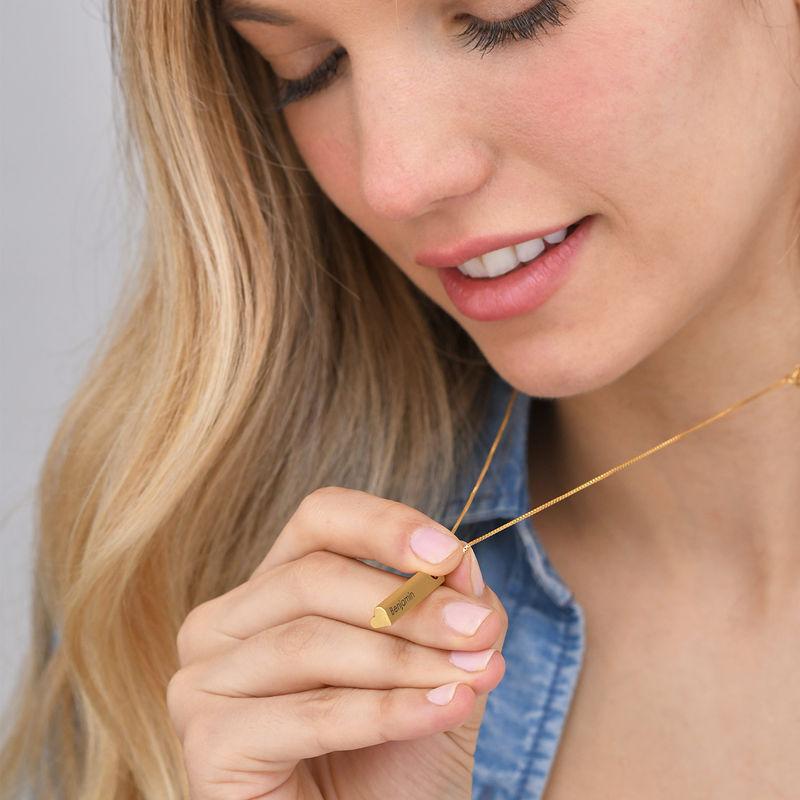 Hjärtformad 3D bar halsband-guldpläterad - 5