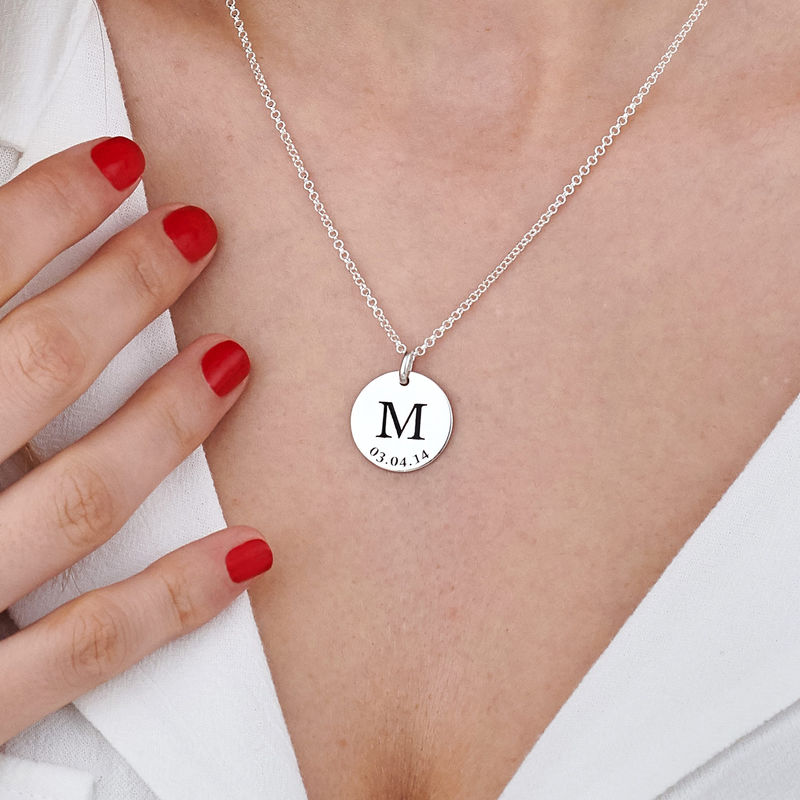 Personlig Bokstav Halsband med Datum i Silver - 5