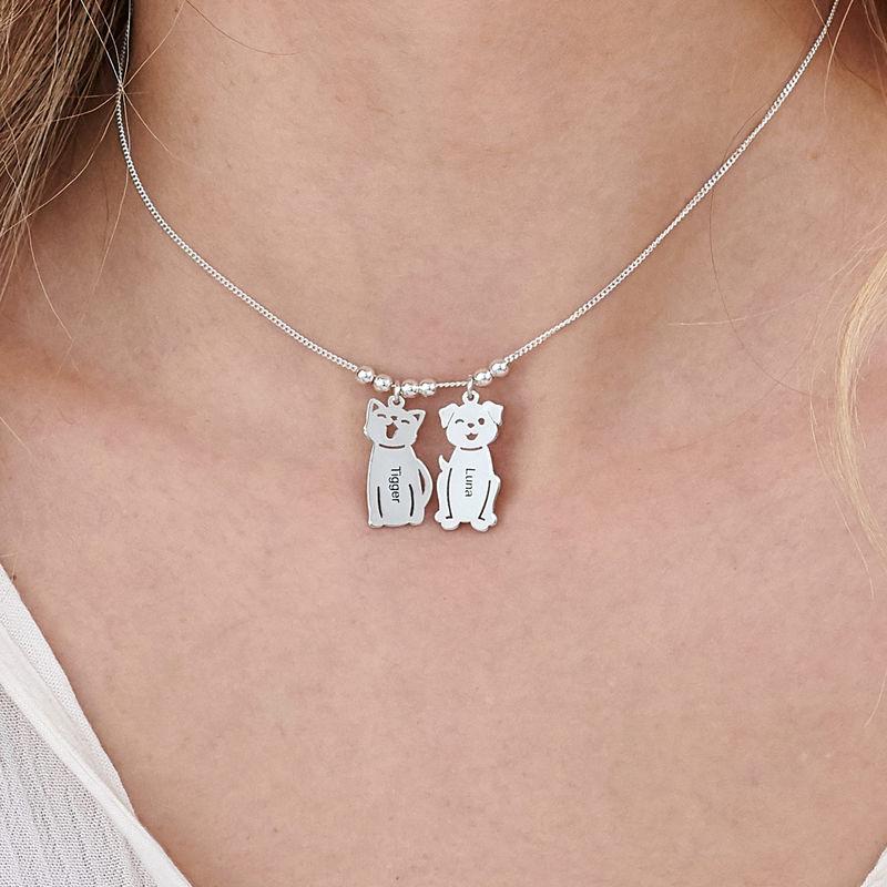 Graverat halsband med katt och hund berlock i silver - 5