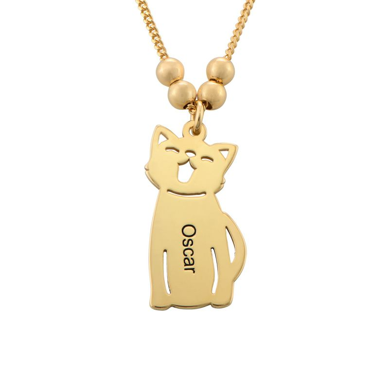 Graverat halsband med katt och hund berlock i guldpläterad - 2
