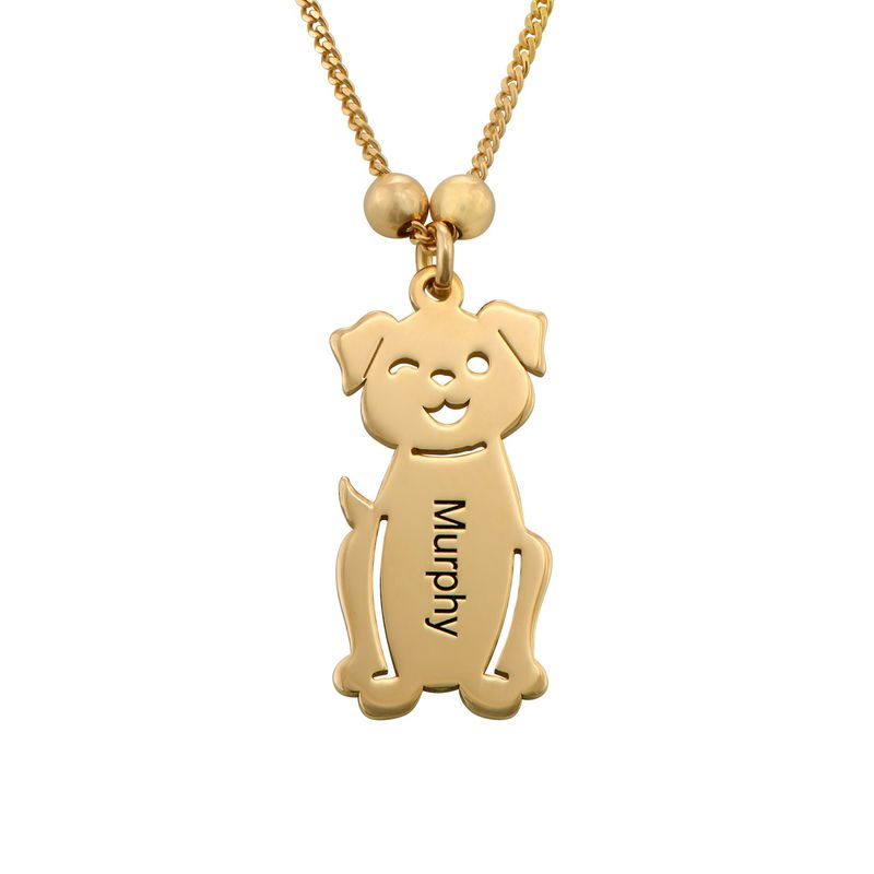 Graverat halsband med katt och hund berlock i guldpläterad - 3