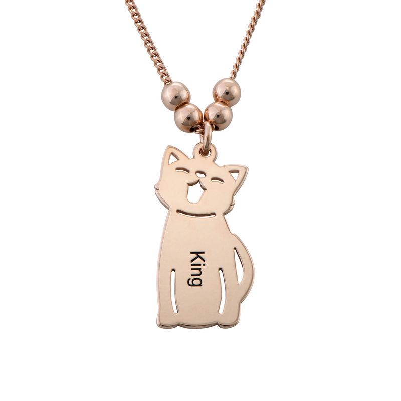 Graverat halsband med katt och hund berlock i roséguldpläterad - 2