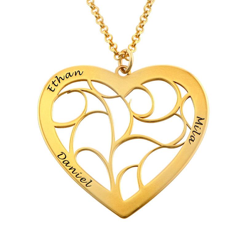 Hjärtformat livets träd-halsband i guldplätering