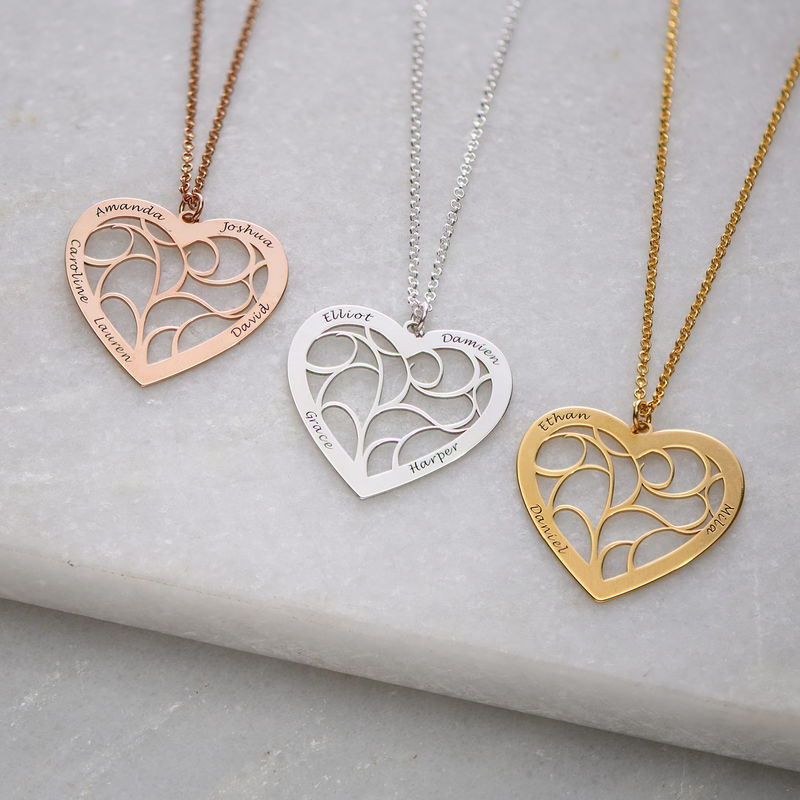 Hjärtformat livets träd-halsband i guldplätering - 1