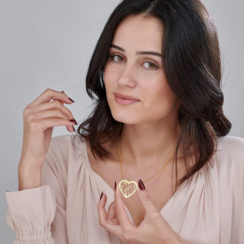 Hjärtformat livets träd-halsband i guldplätering - 2