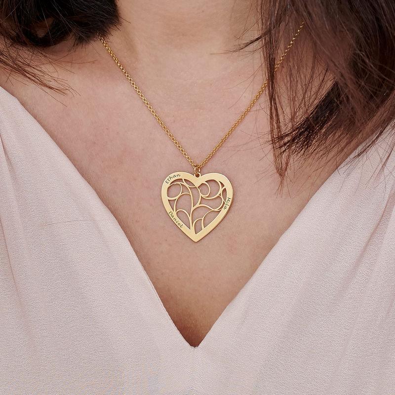 Hjärtformat livets träd-halsband i guldplätering - 3