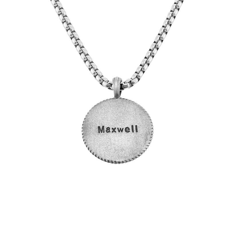 Graverat Kompass-Halsband för Män i Sterling Silver - 1