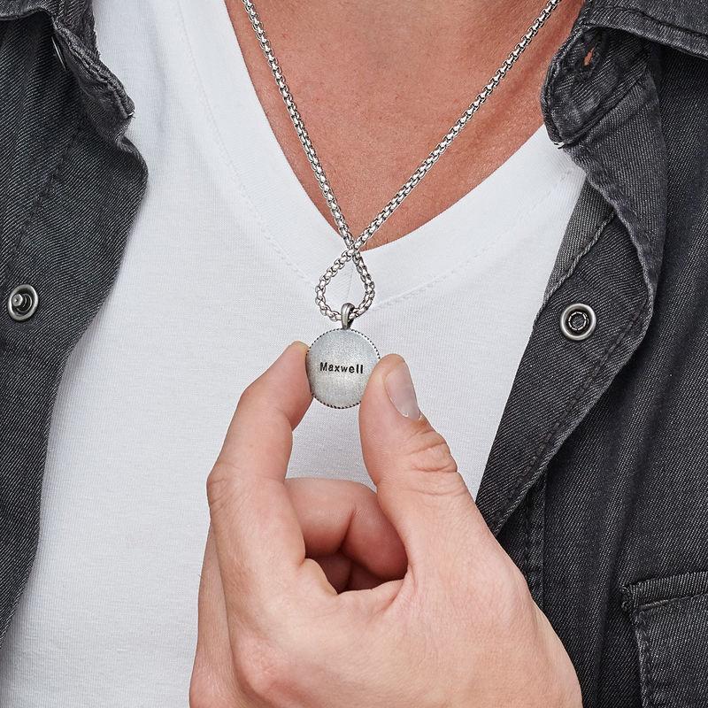 Graverat Kompass-Halsband för Män i Sterling Silver - 4