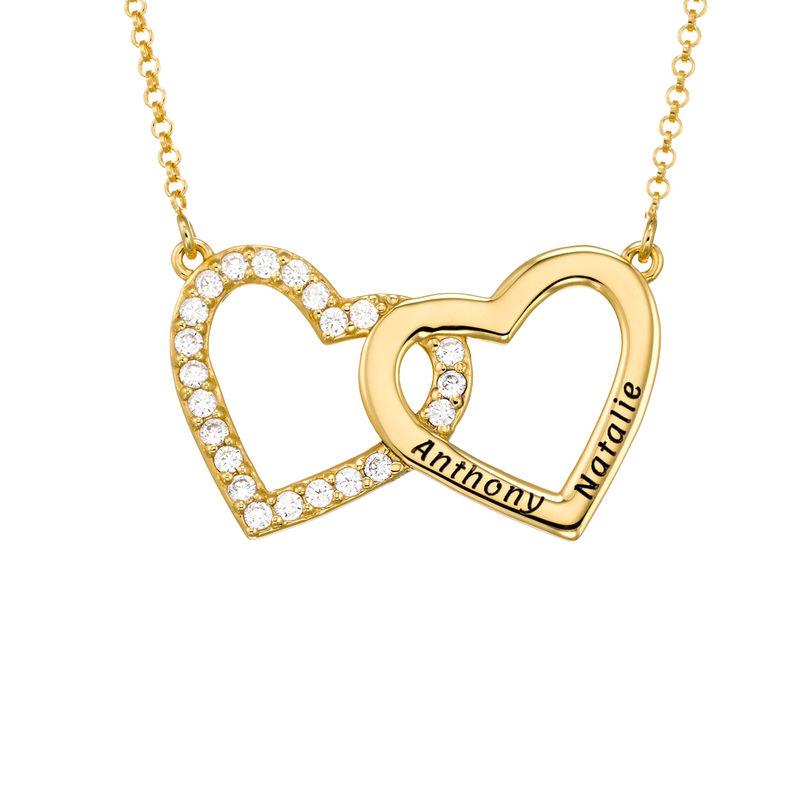 Halsband med Två Hjärtan med Gravyr i Guldplätering