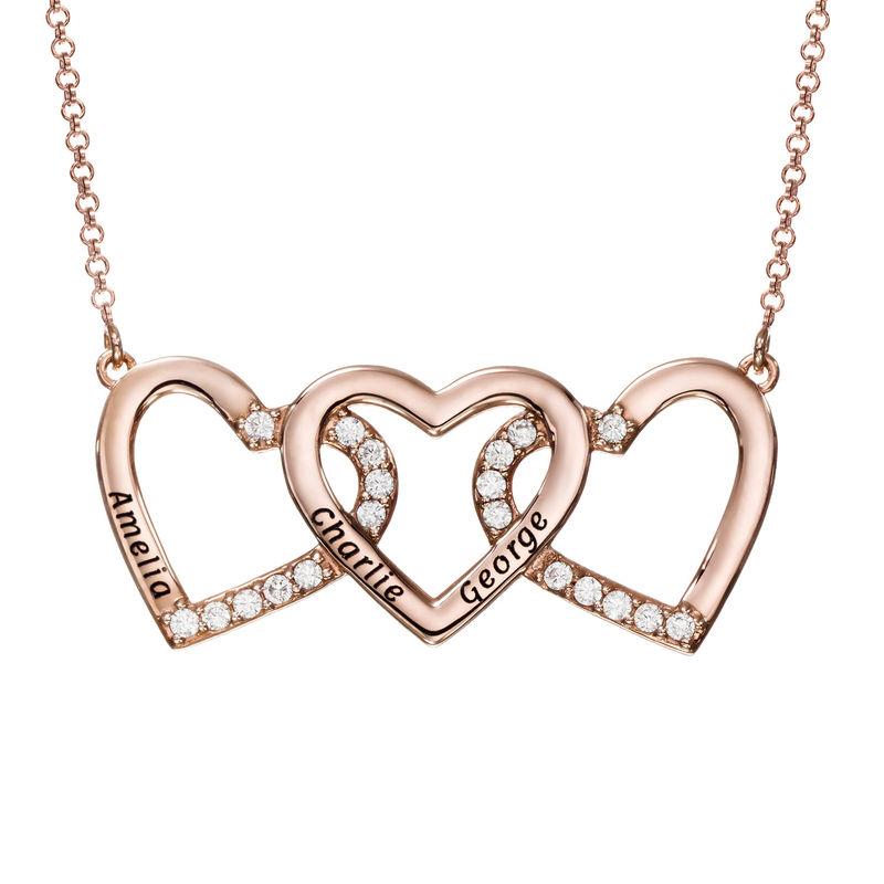 Halsband med Tre Hjärtan med Gravyr i Roséguldplätering