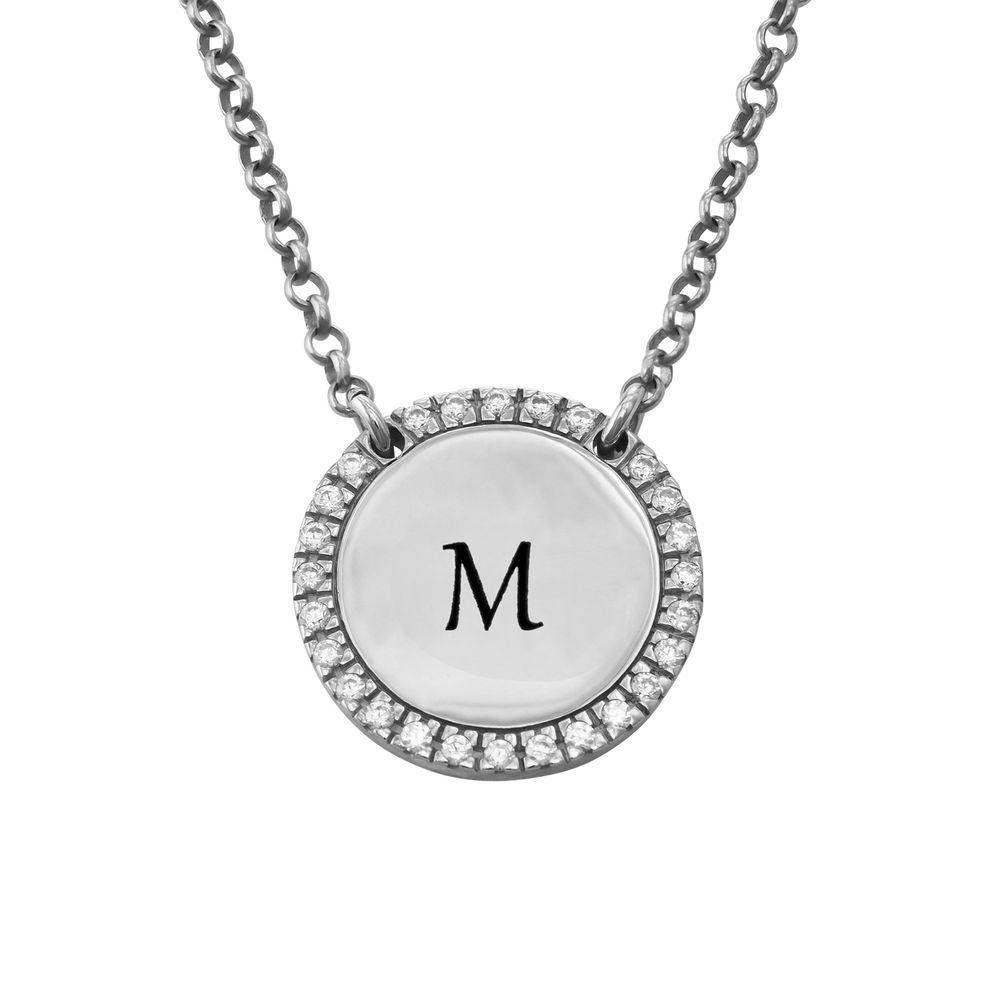 Personligt Cirkel Halsband i Silver med Cubic Zirconia