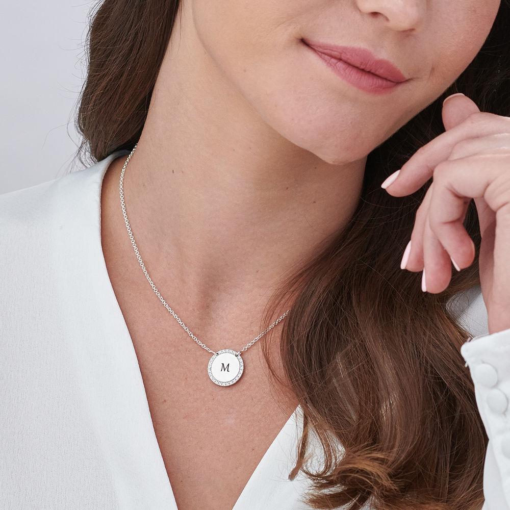Personligt Cirkel Halsband i Silver med Cubic Zirconia - 4