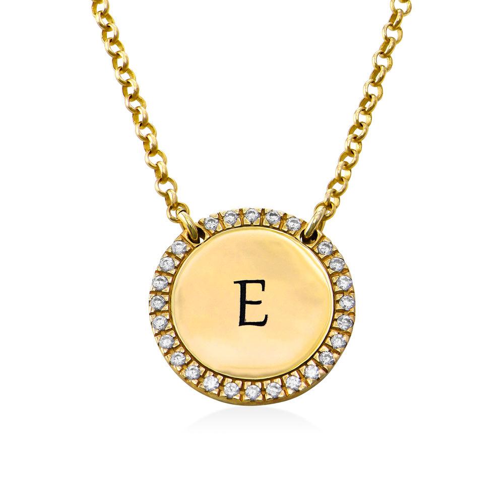 Personligt Cirkel Halsband med Cubic Zirconia i Guldplätering
