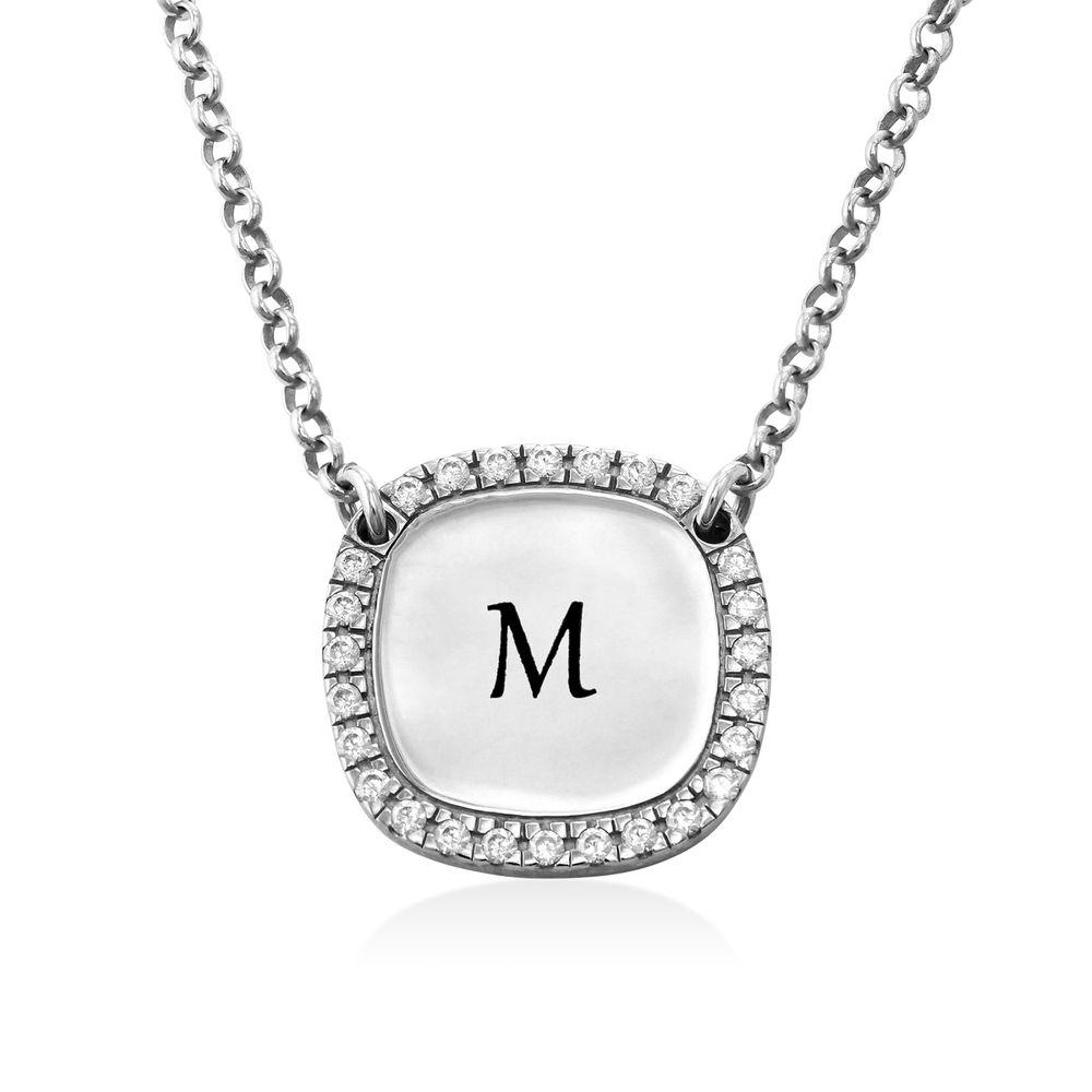 Personligt Fyrkantigt Halsband med Cubic Zirconia i Silver - 1