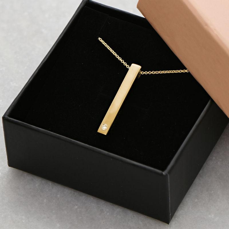 3D-graverat stavhalsband  i Guld Vermeil med Diamant - 5