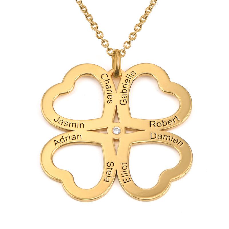 Fyrklöver Halsband med Hjärta i Guldplätering med Diamant