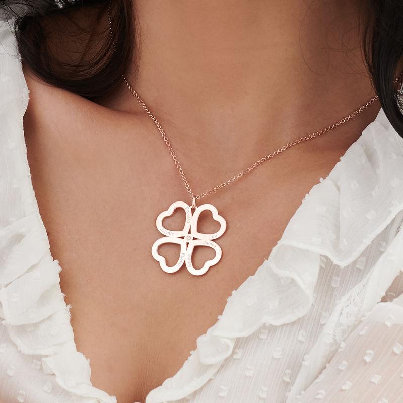 Fyrklöver Halsband med Hjärta i Roséguldplätering med Diamant - 3
