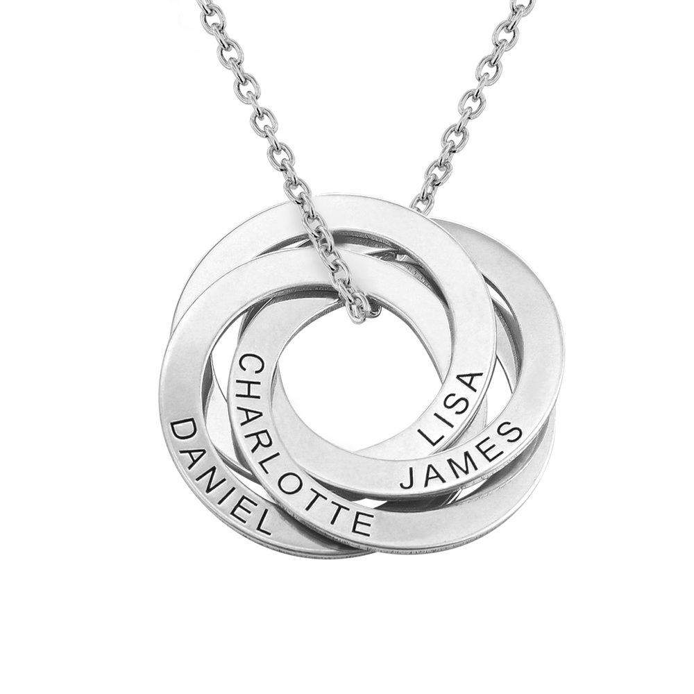 Ryskt ringhalsband med 4 ringar i silver