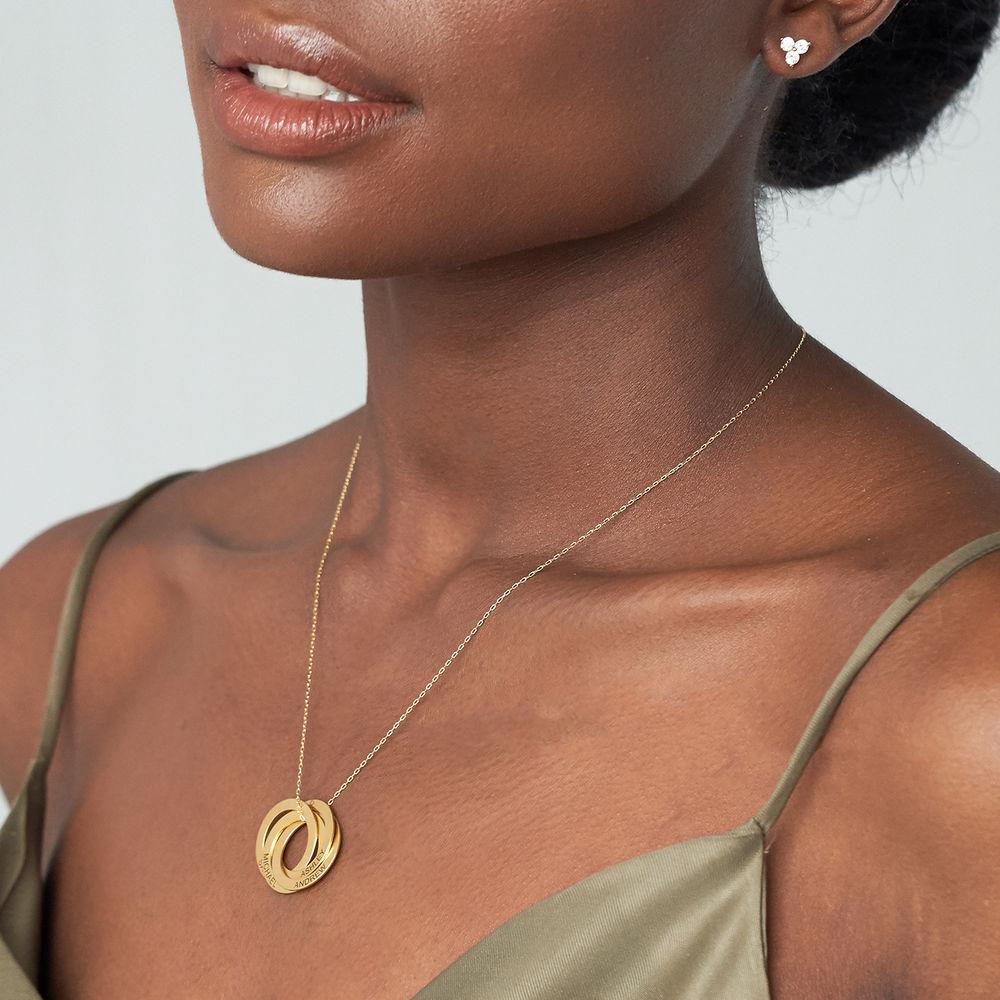 Ryskt ringhalsband med 4 ringar i guldplätering - 2