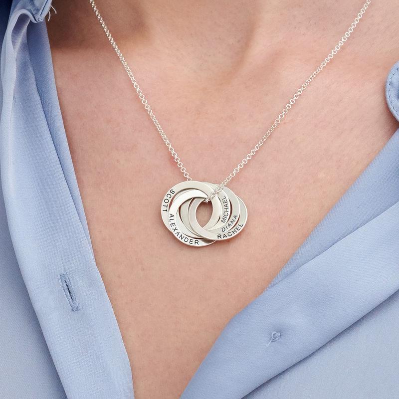 Ryskt ringhalsband med 5 ringar i silver - 2