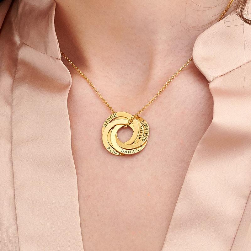 Ryskt ringhalsband med 5 ringar i guldplätering - 2