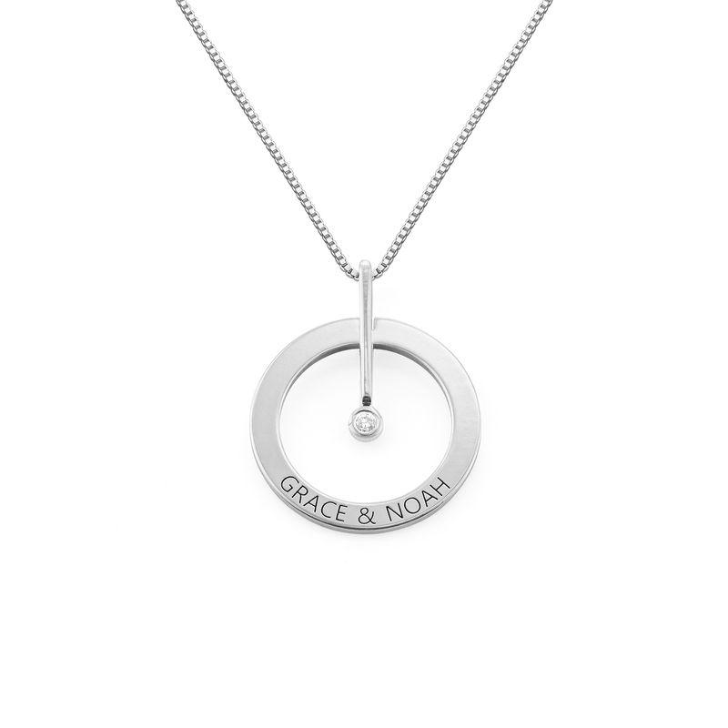 Personligt Cirkelhalsband med  Diamant i Sterling Silver