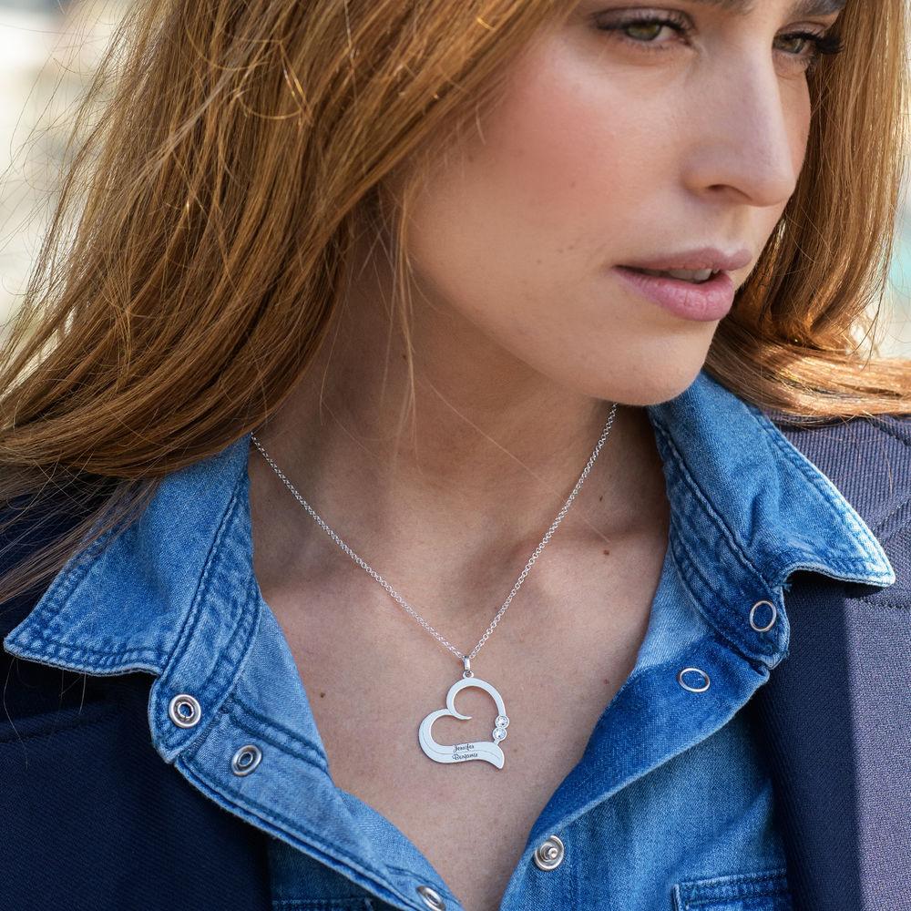 Personaliserat Hjärthalsband i Sterling Silver med Diamant - 1
