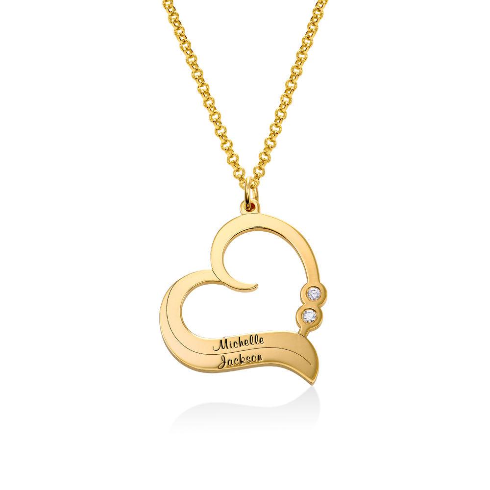 Personaliserat Hjärthalsband i 18k Guldplätering med Diamant