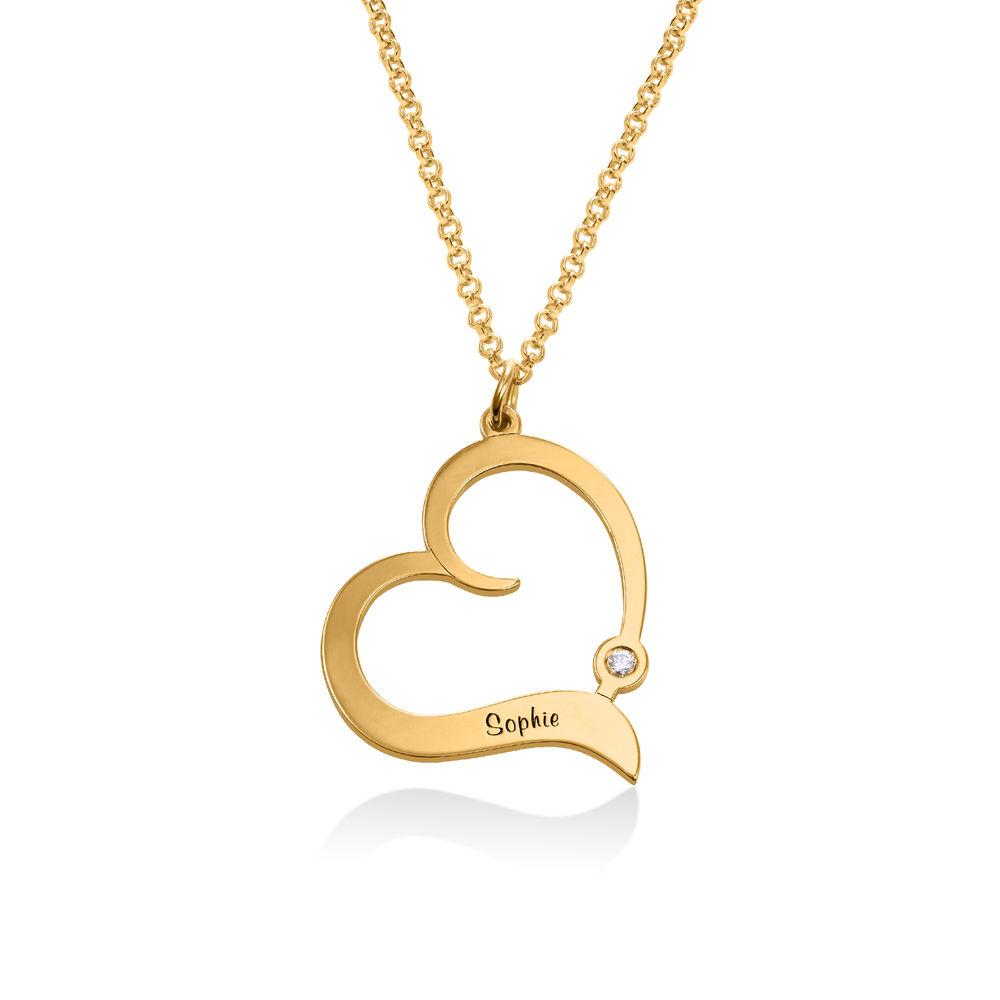 Personaliserat Hjärthalsband i Guld Vermeil med Diamant