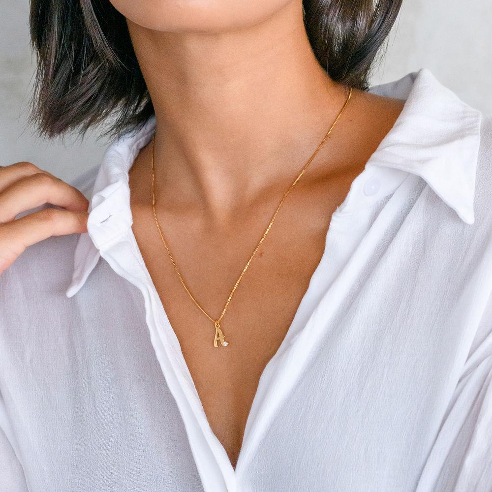 Bokstavshalsband med Diamant i 18k Guldplätering - 1