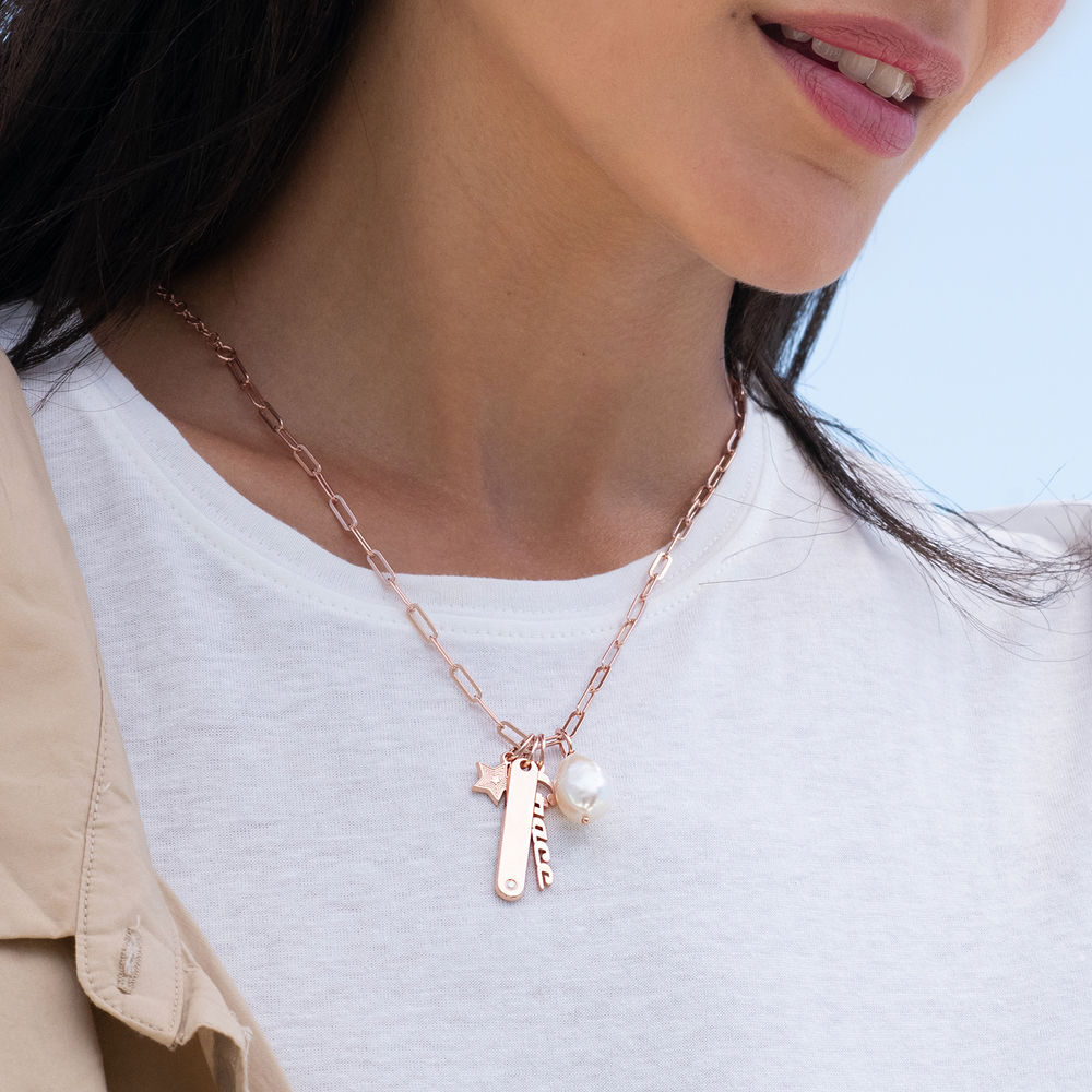 Siena Namnbricka Halsband i 18k Roseguldplätering - 1