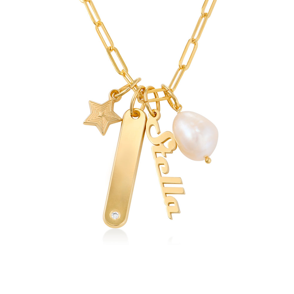 Siena Namnbricka Halsband i Guld Vermeil - 1
