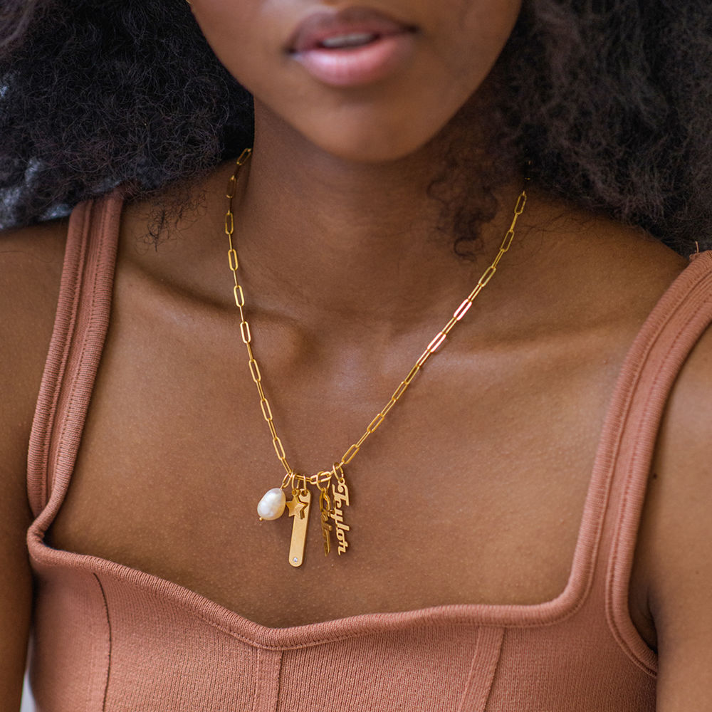 Siena Namnbricka Halsband i Guld Vermeil - 4