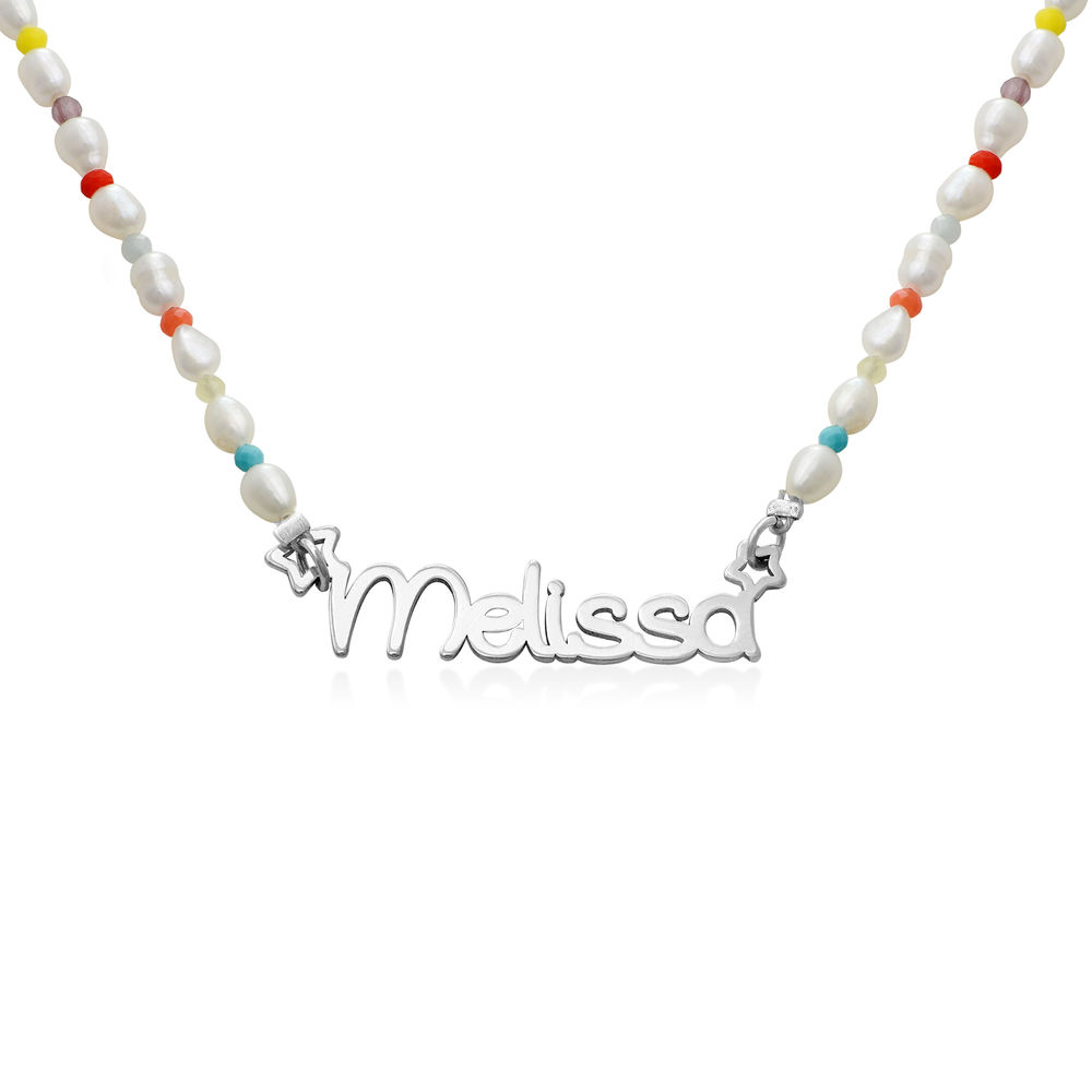 Pearl Candy Girls Name Necklace in Sterling Silver