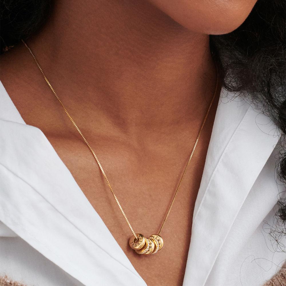 Personligt Halsband med Graverade Runda Plattor i Guld Vermeil - 3